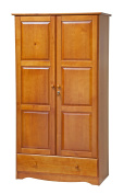 100% Solid Wood Universal Wardrobe/Armoire/Closet by Palace Imports, Honey Pine Colour, 100cm W x 180cm H x 50cm D, 2 Clothing Rods, 2 Shelves, 1 Lock, 1 Drawer Included. Additional Shelves Sold in Packs of 2.