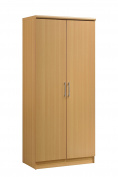Hodedah 2 Door Wardrobe with Adjustable/Removable Shelves & Hanging Rod, Beech