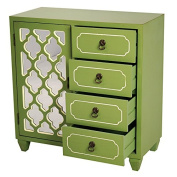 Heather Ann Creations 4 Drawer Wooden Accent Chest and Cabinet, Multi Clover Pattern Grille with Mirrored Backing, 80cm H x 70cm W, Green