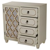 Heather Ann Creations 4 Drawer Wooden Accent Chest and Cabinet, Multi Clover Pattern Grille with Mirrored Backing, 80cm H x 70cm W, Beige/Gold