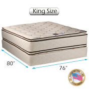 Coil Comfort Pillow Top Mattress and Box Spring Set (King) Double-Sided Sleep System with Enhanced Cushion Support, Fully Assembled, Great for your Back, longlasting Comfort by Dream Solutions USA