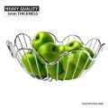 Chrome Plated Wire Frame Fruit Bowl Basket Fresh Food Storage Holder Elegant Wave Design Home Decor Kitchenware