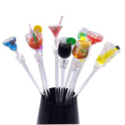 CosCosX 10 Pieces Colourful Acrylic Cocktail Swizzle Stirrer Sticks For Drink BBQ Dinner Party Bar--23cm/9inch