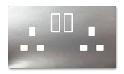 METALLIC SILVER VINYL UK LIGHT SWITCH STICKERS, CHILDS BEDROOM NURSERY DECORATING