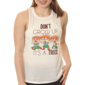 Rugrats Juniors' Chucky 'Don't Grow Up, It's a Trick' Space Dye Muscle Graphic Tank Top With Side Slit and Hi Low Split Step