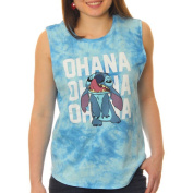 Lilo and Stitch Juniors' Licking Nose 'Ohana' Muscle Graphic Tank Top With Tie Dye Colouring