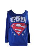 Superman Juniors Blue Logo Graphic French Terry Sweatshirt XL
