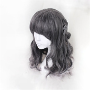 Lolita Short Bob Curly Wigs for Black Women Body Wave Synthetic Neat Bangs Ombre Black Colour Synthetic Wig