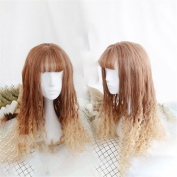 Short 50cm Lolita Kinky Curly Hairstyle Bob Ombre Brown T Blonde Wig Heat Resistant Full Cosplay Wigs