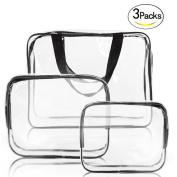 YOPO 3 Pack Clear Makeup Bags Travel Toiletry Cosmetic Bag Portable Waterproof PVC Organiser Case for Men & Women