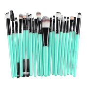 WuyiMC 20 Pieces Makeup Brush Set Professional Face Eye Shadow Eyeliner Foundation Blush Lip Makeup Brushes Powder Liquid Cream Cosmetics Blending Brush Tool