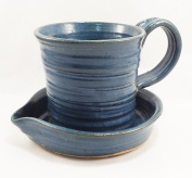 Aunt Chris' Pottery - Heavy Hand Made - Small Clay Bacon Cooker - Blue Colour Glazed - Unique New Way of Cooking Bacon - Fits Smaller Microwaves - Perfect For Travelling, RV or Dorm Room!