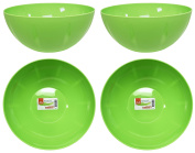 Set of 4 Green Click Home Design Serving and Mixing Bowls - Bright and Beautiful Collection - 20cm x 8.9cm - 57 Fluid Oz - Serving Bowls Perfect for Kitchen, Party, Event or Home!