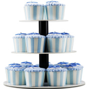 DYCacrlic-3 Tiers Round White Mini Cupcake Stand Display Tree-Acrylic Cup Cake Stands / Mini Cupcake Carrier-White Tiered Serving Platters / Pastry Dessert Stand-For Events Birthday Party