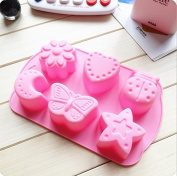 6 Silicone Pudding, Chocolate, Jelly Cake Mousse Mould Ice Cube Tray Kitchen Baking Tools