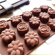 15 Silicone Flower Pudding, Jelly Cake Mousse Mould Ice Cube Tray Kitchen Baking Tools