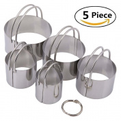 Stainless Steel Pastry Scraper, Dough Blender & Biscuit Cutter Set (5 Pieces/ Set), Heavy Duty & Durable with Ergonomic Rubber Grip, Professional Baking Dough Tools