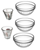 3 Piece Glass Mixing Bowls (Greenbrier) and 2 Piece Measuring Shot Glasses (Anchor Hocking), 5 PC SET - Perfect for measuring, mixing, baking, cooking, prepping delicious recipes and much more!
