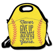 Reusable Picnic Lunch Bags Lunch Tote Softball Never Give Up Lunch Box For Men Women Adults Kids Toddler Nurses
