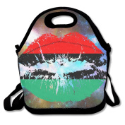 Pan American African Heritage Flag Colours Lips Lunch Tote Insulated Reusable Picnic Lunch Bags Boxes For Men Women Adults Kids Toddler Nurses