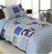Golden Linens Twin Size 2 Pieces Quilt Bedspread Set Kids New Designs for Boys & Girls (aeroplane