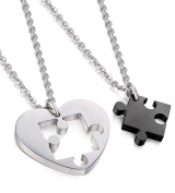 Jstyle Stainless Steel Necklace for Men Women Chain Set For Couples Puzzle Black Pendant Heart 55cm Length