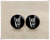 Punk Rock and Roll Hand Cufflinks, Christmas Gifts