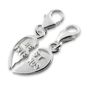 Two Best Friends Heart Shaped Charms with Clip On Clasp - 925 Sterling Silver - Size