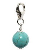 8mm Turquoise Germstone and Sterling Silver Clip Charm made by Black Moon