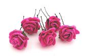 5 Mini Royal Blue Roses Artificial Hair Flower Pins
