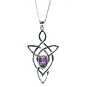 Blue John (Derbyshire) and Sterling Silver Celtic Trinity Knot Pendant & Chain