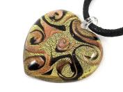 SALE Bellissi Murano Venezia Genuine Murano Glass Heart Pendant - Copper & Black on Gold Leaf, Approx. 3cm x 3cm - Includes Gift Box