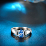925 Sterling silver Women Ring Aquamarine blue crystal Stone wedding jewellery with nice gift box