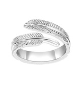 iszie jewellery sterling silver beautiful feather ring,feather adjustable open ring, long leaf ring