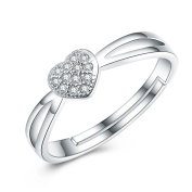 SELOVO Women's Micro Pave Cubic Zirconia Heart 925 Sterling Silver Adjustable Band Ring From J to V