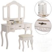 Tri Folding Vintage White Vanity Makeup Dressing Table Set 5 Drawers & stool