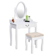 Vanity Table Jewellery Makeup Desk Bench Dresser w/ Stool Drawer White New