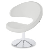Shell Swivel Adjustable Height Occasional Chair - White