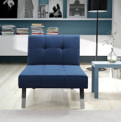 Novogratz Simon Chaise with Chrome Slanted Legs, Mid-Century Modern Design, Converts to Sleeper, Rich Blue Linen