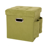 Glitzhome 1504003772 Cube Faux Suede Foldable Storage Ottoman with Padded Seat, Green