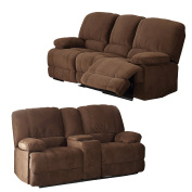 Christies Home Living 2 Piece Kevin Brown Contemporary Fabric Sofa and Love Seat with Storage Console Living Room Set with 4 Reclining Seats