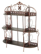 Heather Ann Creations Oliver Collection Contemporary Style Ornate Steel 3 Shelf Bakers Rack, Black/Gold