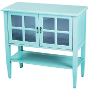 Heather Ann Creations 2-Door Console Cabinet with 4-Pane Glass Insert, Turquoise