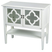 Heather Ann Creations 2-Door Console Cabinet with 4-Pane Clover Glass Insert, Antique White