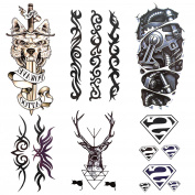 SMILCO 6 Sheets Temporary Tattoo Temporary Tattoos For Guys for Men Mechanical Arm Elk Wolf Totem Superman