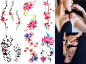 SMILCO 6Pcs Temporary Tattoos Colourful Flowers Floral Temporary Tattoos Chinese Style Plum Blossom Lotus