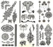 Premium Black Henna Tattoo - 75+ Mehndi & Henna Temporary Tattoos Fake Jewellery Inspired Tattoo Designs - Mandalas, Flowers, Elephants & More