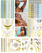 Metallic Temporary Henna Tattoo, 90+ Waterproof Fake Shimmer Tattoos Stylish Designs Stickers for Body Art Gold and Silver for Parties, Festivals, Beaches and Weddings,Over 90 Number of Stickers