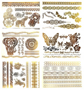 Premium Metallic Henna Tattoos - 75+ Temporary Fake Shimmer Jewellery Tattoos Henna, Mandala, Mehndi, Boho Designs in Gold and Silver