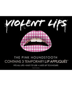 Violent Lips Pink Houndstooth - Lot of (25) Packages of 3 Lip Tattoo Appliques Each, Total of 190cm Pink Houndstooth